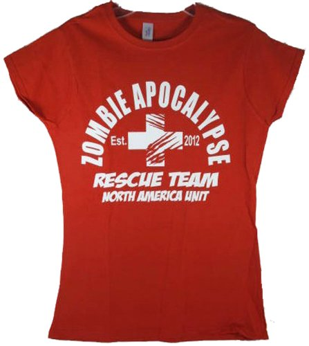 Women's 2012 Red Zombie Apocalypse Rescue Team Horror Funny Adult T-Shirt Tee