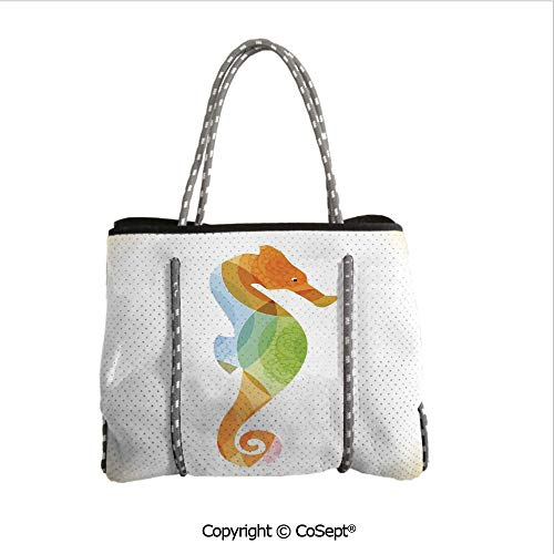 Waterproof Beach Bag,Silhouette of Sea Creature with Coral Reef Patterns Inside Aquarium Icon,Perfect Tote Bag For Holidays(14.9