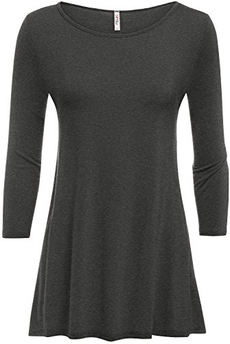 Heather Charcoal Tunic Tops Long Flowy Loose Crew Neck Tunic Tops,Heather Charcoal,X-Large