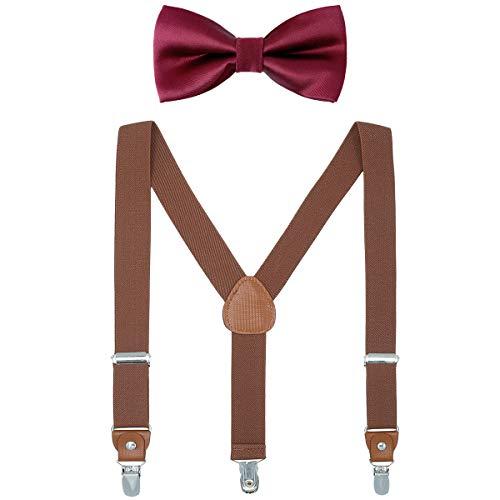 Child Kids Suspender Bowtie Sets - Y Shape Adjustable Suspender with Silk Bowties Gift Idea for Boys and Girls by WELROG (Brown + Burgundy ()