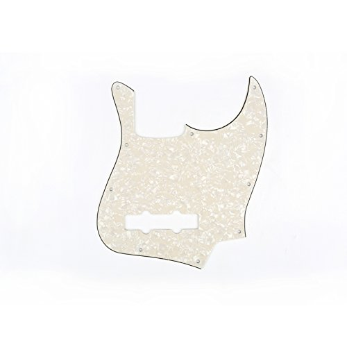 zz Bass Pickguard J Bass Pick Guards for Fender USA/Mexican Made Standard Jazz Bass Guitar, 4Ply Parchment Pearl ()