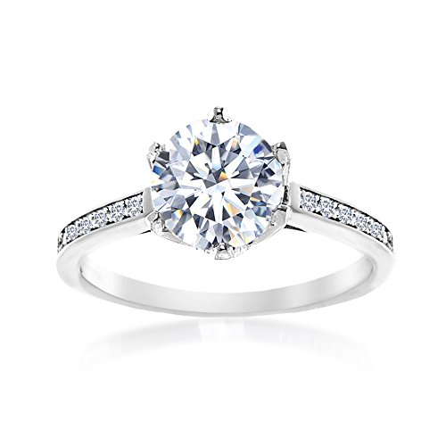 Mia Sarine Round Cut Solitaire Cubic Zirconia Engagement Ring with 6 prongs in Rhodium Plated Brass, Size ()