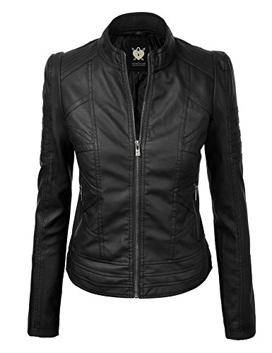 WJC746 Womens Vegan Leather Motorcycle Jacket L Black