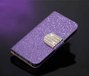 Luxury Leather Magnetic Bling Wallet Flip Cover Case for Apple Iphone 4 4s (Purple)