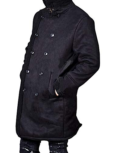 Taoliyuan Mens Sherpa Lined Double Breasted Coat Winter Warm Lapel Wool Blend Windproof Jacket with Pockets (Large, Black)
