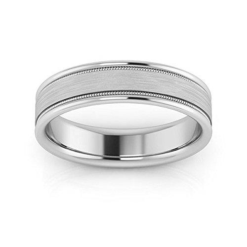 Platinum 5mm raised edge with milgrain comfort fit men's & women's wedding bands, 10