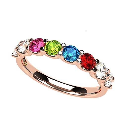 NANA U'r Family Ring 1 to 9 Simulated Birthstones - 10k Rose Gold - Size 7 -