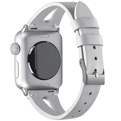 VIQIV Fashion Leather Bands for Compatible with Apple Watch 40mm 44mm iWatch Sport Series 4, Dressy Bracelets Jewelry Wristband Strap for Women Men Gold Stainlesss Steel Buckle from VIQIV