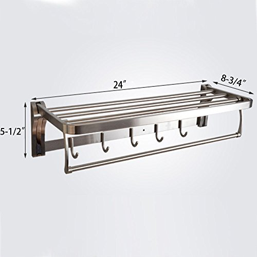 delicate SUS 304 Stainless Steel Shelves Towel Rack with Double Storage Hanging Organizer 60 CM, Brushed Finish