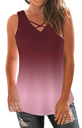 onlypuff Women Sleeveless Criss Cross Tank Tops V Neck Stretchy Soft Basic Wine Red XXL