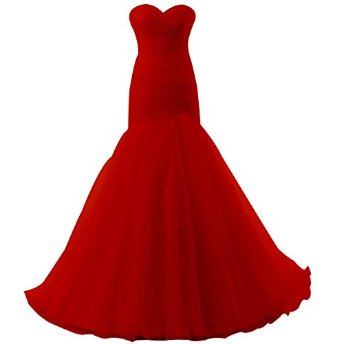 YanLian Layered Mermaid Organza Wedding Dresses 2017 for Bride Red US17w