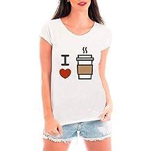 Camiseta Blusa T shirt Bata Criativa Urbana I love Café Coffee Branco M