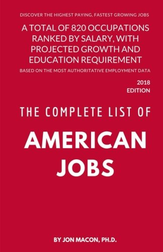 The Complete List of American Jobs: A Total of 820 Occupations Ranked by Salary, With Projected Growth Till 2026 and Education Requirement for Entry Level Positions