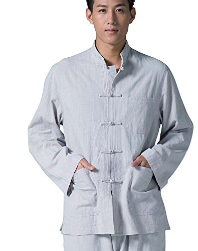 ZanYing Men's Long Sleeved Traditional Shirt Nature Cotton Stand Collar (XXL, Grey)