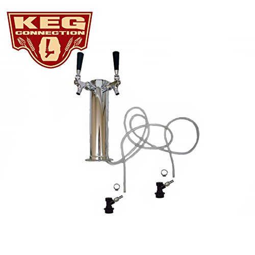 2 Faucet - Dual Tap Homebrew Tower, Chrome Faucets, Handles, Ball Lock Disconnects by Kegconnection