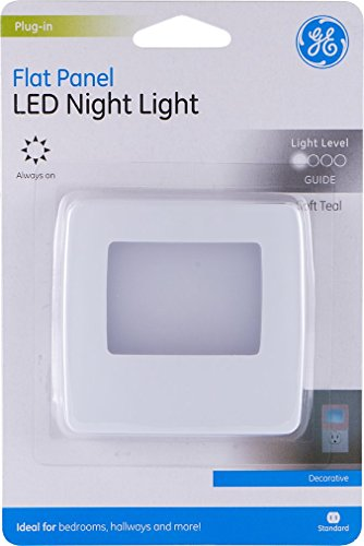 GE Flat Panel LED Night Light Plug-in, Always On, Home Décor, Compact, Energy Efficient, Soft Teal, White Base, for Elderly, Ideal for Bedroom, Bathroom, Nursery, Kitchen, - Flat Panel Ge