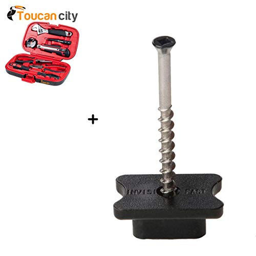 (Toucan City Tool Kit (9-Piece) and Black TXB Biscuit Style Hidden Deck Fastener with Pre-Set Trim Head Screws (500-Piece) IF-BSTXB-500)