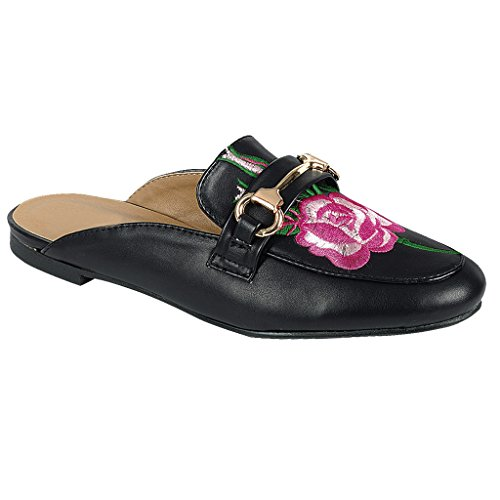 Slide Flat Slip Mule Women Oxford Rose Loafer Shoe SNJ Black Sandal On txYRgqxw