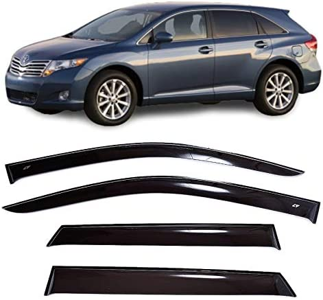 CT Wind Visor Deflectors Set of 4-Piece Car Ventvisor Door Side Window Air Guard Deflectors for Protection Against Snow Sun and Rain Compatible with Toyota Venza 2008-2017 Dark Smoke