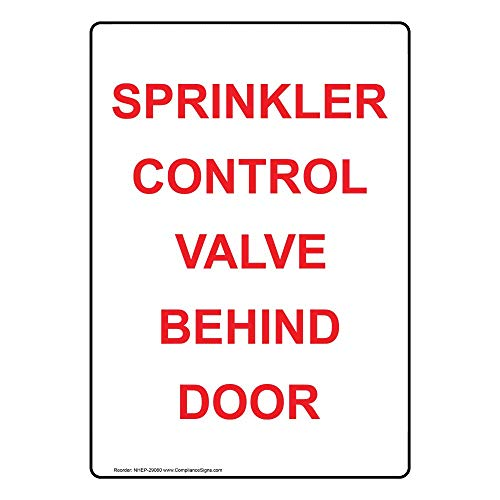 (ComplianceSigns Vertical Vinyl Sprinkler Control Valve Behind Door Labels, 5 x 3.50 in. with English Text, White, pack of 4)