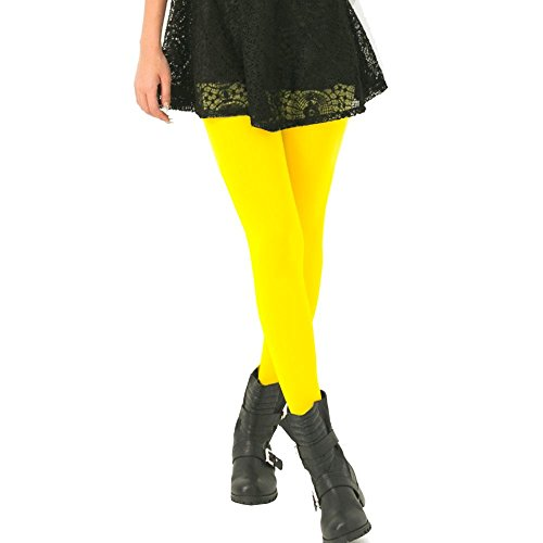 KoolFree Microfiber Seamless Stretch Cotton Crotch Opaque Solid Color Pantyhose Tights (yellow), One Size ()