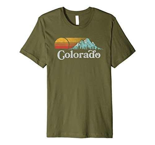 Mens Retro Vibe Colorado T Shirt   Vintage Style Sun Xl Olive