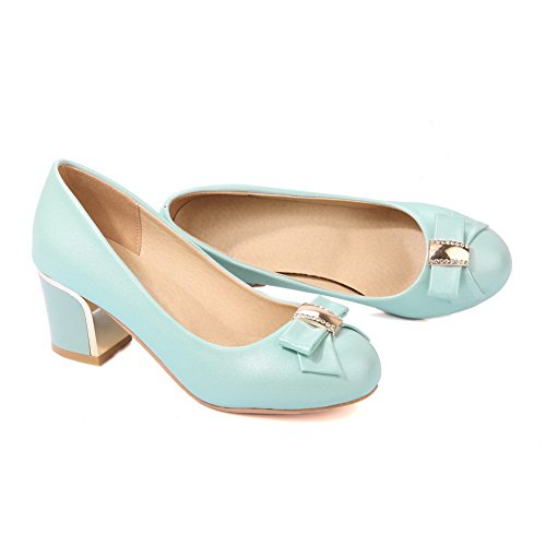 Balamasa Donna Charms Tacco Grosso Tomaia Tomaia In Uretano Pumps Shoes Blu