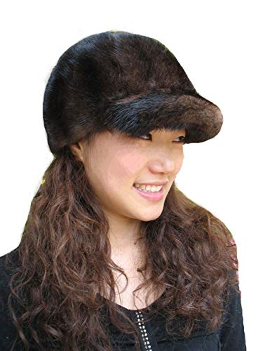 - Real Mink Fur Hand-Made Hat Cap for Both Women and Men with Visor Brown