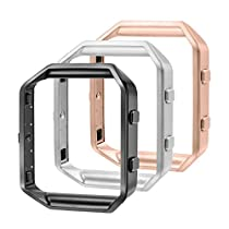 bayite Replacement Accessory Steel Frame for Fitbit Blaze Smart Watch Pack of 3, Black, Silver and Rose Gold