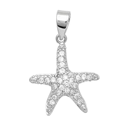 Jewelstop 925 Sterling Silver Small Star Fish Studded CZ Sea Life Pendant - 15x13mm