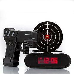 Digital Alarm Clock, Webat Digital Alarm Clock Lock N' load Gun Alarm Clock Target Gaming Clock-Black