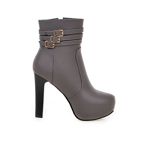 AdeeSu Ladies Buckle Platform Zipper Imitated Leather Boots Gray 2Nn7Pt6ubP
