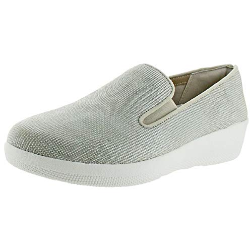 FitFlop; Womens Superskate; Houndstooth Print Suede Loafers Cream Size 9