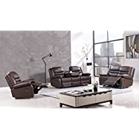 American Eagle Furniture 3 Piece Bayfront Collection Complete Faux Leather Reclining Living Room Sofa Set, Dark Brown