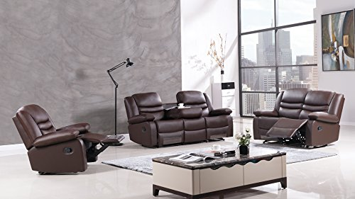 American Eagle Furniture 3 Piece Bayfront Collection Complete Leather  Reclining Living Room Sofa Set, Dark Brown