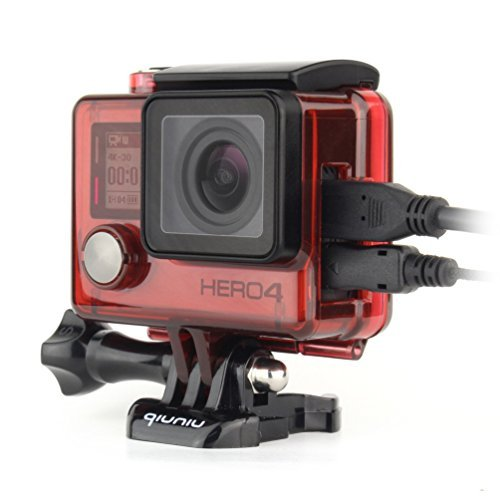 Side Open Protective Skeleton Housing Case with LCD Touch Backdoor for GoPro Hero 4, GoPro Hero 3, and GoPro Hero 3+ - Transparent Red
