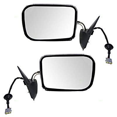 Driver and Passenger Power Side View Mirrors with Chrome Covers Replacement for Dodge Pickup Truck 55076613 55076612