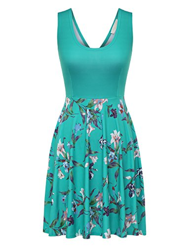 FSOOG Womens Open Back Casual Fit and Flare Floral Sleeveless Dress (XL, Green)
