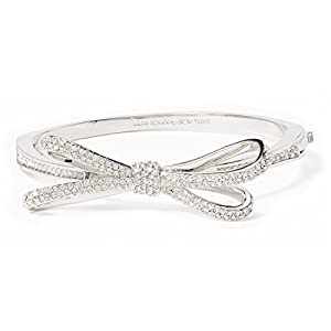 Kate Spade Tied Up Pave Bow Bangle, Silver-Tone