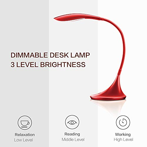 LED Desk Lamp Swing Arm Table Lamp, Dimmable Portable Gooseneck Red Reading Lights with USB Charging Port, Touch Contral Office/Bedroom/College, Back to School by ACG-INC (Image #3)