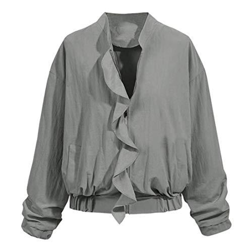 Manica Bomber Con Abbigliamento Grau Tasche Pilot Puro Coreana Laterali Outerwear Di Volant Donna Lunga Autunno Moda Colore Collo Giacca Cerniera Giaccone 5vRWx7t