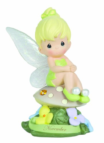 Precious Moments, Disney Showcase Collection,  November Fairy As Tinker Bell, Resin Figurine, Yellow Topaz, 113218
