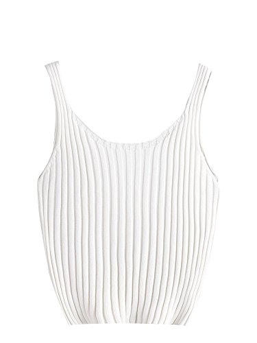 Womens Knit Tank Top (SweatyRocks Women's Ribbed Knit Crop Tank Top Spaghetti Strap Camisole Vest Tops White One Size)