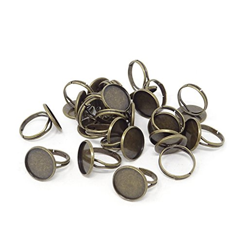 Honbay 20PCS 16mm Antique Bronze Adjustable Blank Finger Ring Bases Cabochon Settings Round Finger Ring Trays