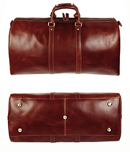 BAIGIO Men's luxury Leather Weekend Bag Travel Duffel Oversize Tote Duffle Luggage (Brown) by BAIGIO (Image #6)