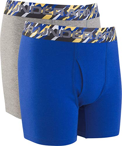 Under Armour Boys' Big 2 Pack Solid Cotton Boxer Briefs, Royal/Graphite, YXL ()