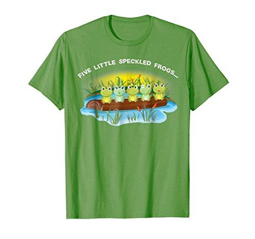 Five Little Speckled Frog unique Nursery Rhyme Green T-shirt