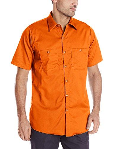 (Red Kap Men's Wrinkle Resistant Cotton Work Shirt, Orange, X-Large)