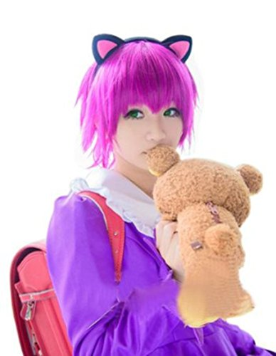 [L-email Wig Annie Short Wig Straight Fuchsia Cosplay Party Hair Wig Zy59] (League Of Legends Annie Cosplay Costume)