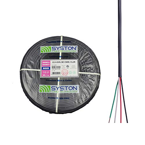 22/4 22 AWG 4 Solid Pure Copper Conductors Unshielded Security Control Alarm Cable, UL/ETL CMR/CL3R Gray 500ft Speed Bag